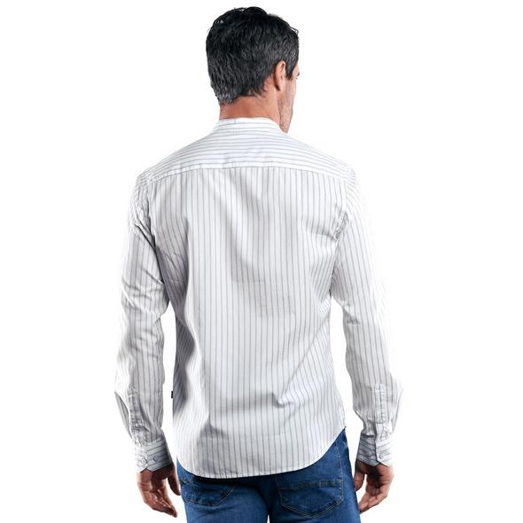 Gestreiftes Stehkragenhemd
