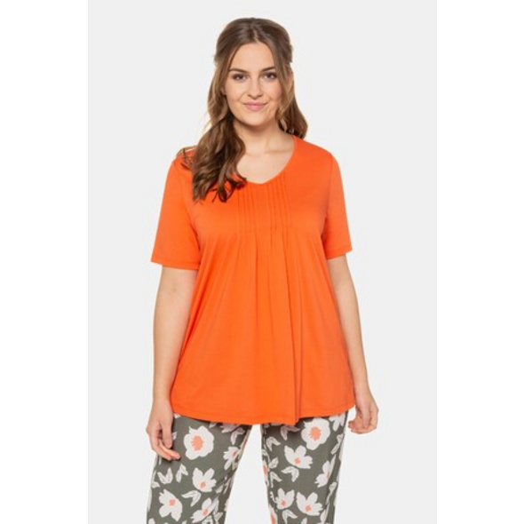 Ulla Popken T-Shirt, Biesen, V-Ausschnitt, Biobaumwolle - Große Größen