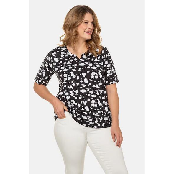 Ulla Popken T-Shirt, Blütenmuster, Classic, Biobaumwolle - Große Größen