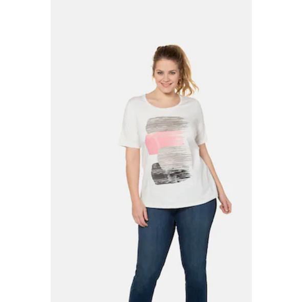 Ulla Popken T-Shirt, glitzernder Pinselstrich-Druck, Classic - Große Größen
