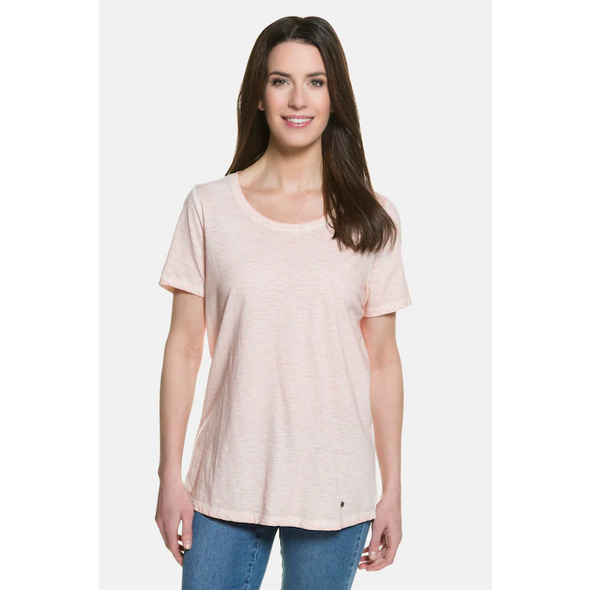 Gina Laura T-Shirt in Used-Look, Rundhals, lockere Passform