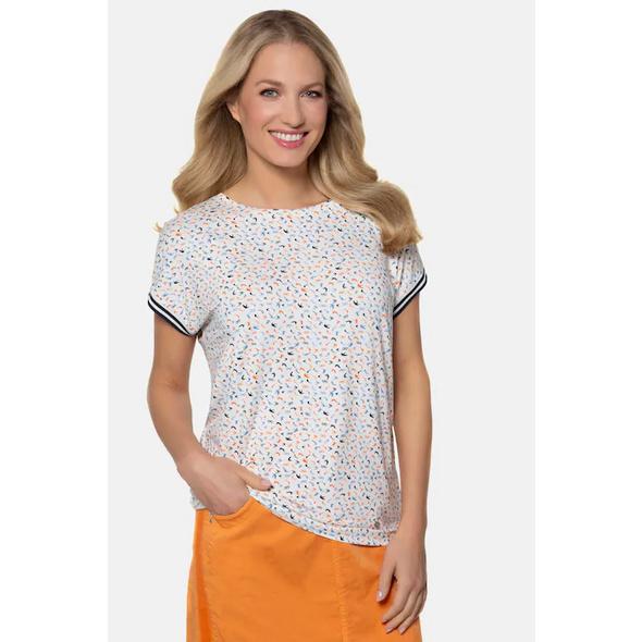 Gina Laura T-Shirt, Schwalbenmuster, Oversized, Rippbündchen