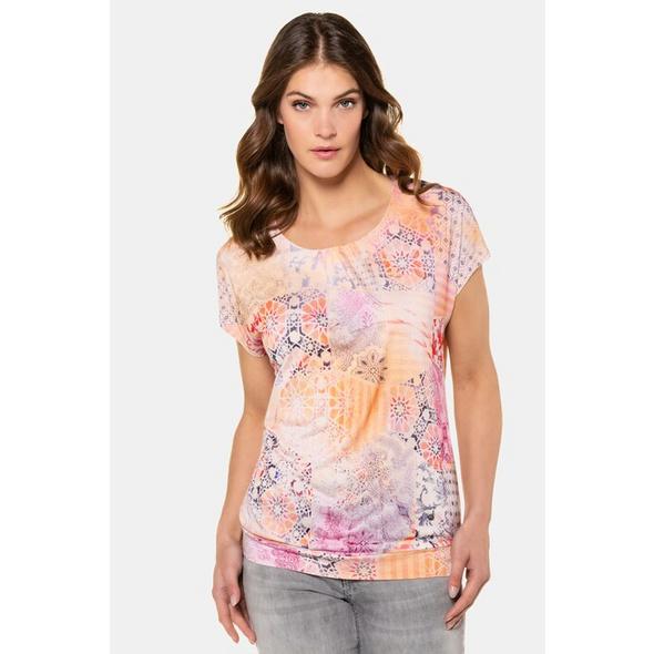 Gina Laura T-Shirt, exotischer Mustermix, Oversized, Kräuselung