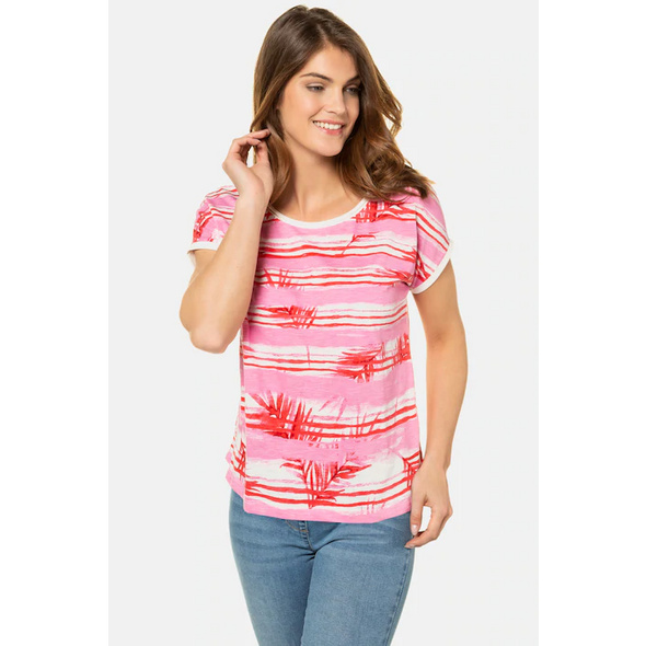 Gina Laura T-Shirt, bedruckte Ringel, oversized, hinten länger