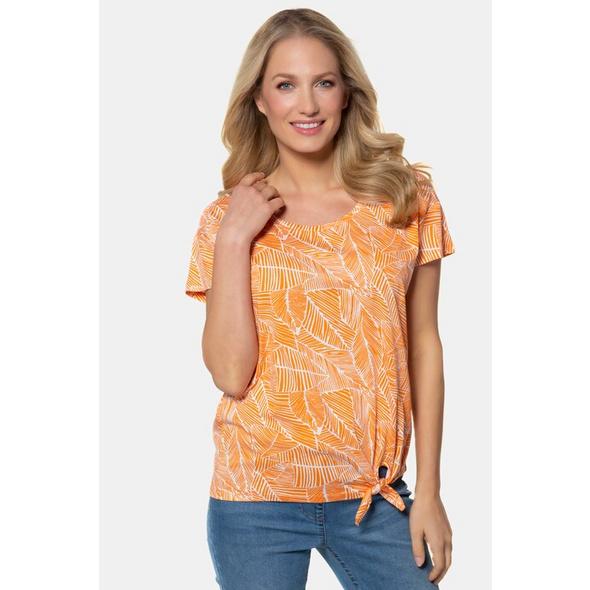 Gina Laura T-Shirt, Blättermuster, Saumknoten, Halbarm