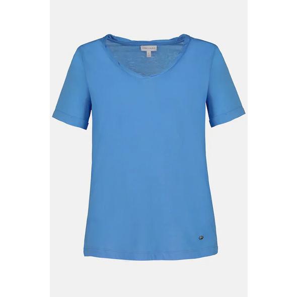 T- Shirt, gedrehter V-Ausschnitt, hinten länger