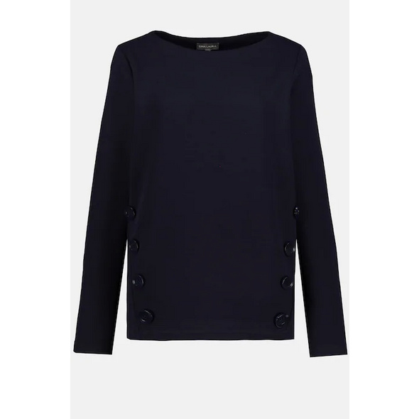 Sweatshirt, Zierknöpfe vorne, Langarm