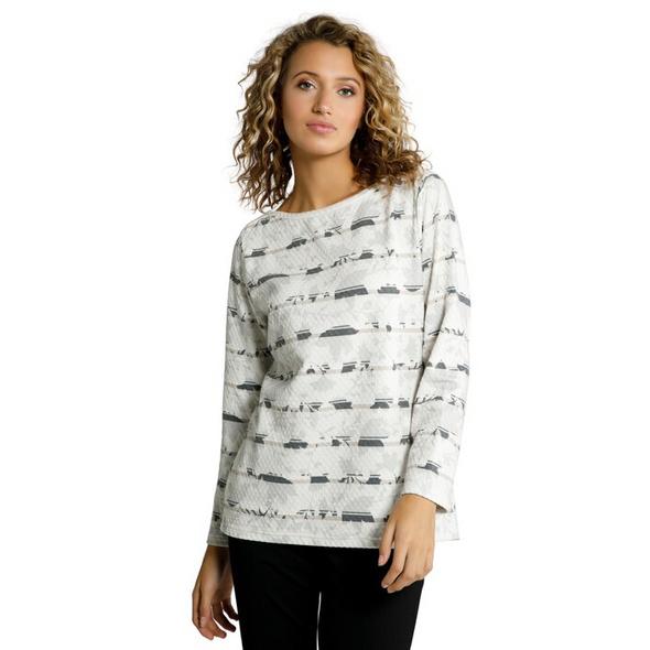 Sweatshirt, Waffelstruktur, Blütenstreifen
