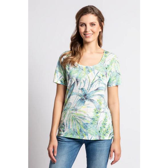 Gina Laura T-Shirt, Palmenblätter-Muster, Ausbrennerjersey