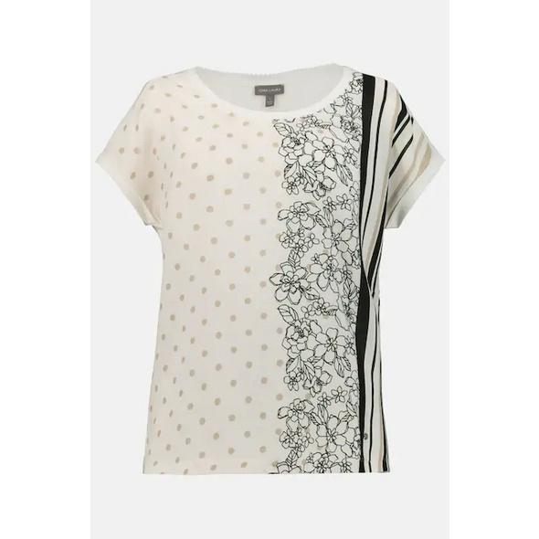 T-Shirt, vorne gemustert, Rücken uni