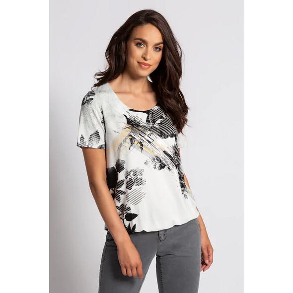 Gina Laura T-Shirt, Blütenmuster, elastischer Saum, Viskose