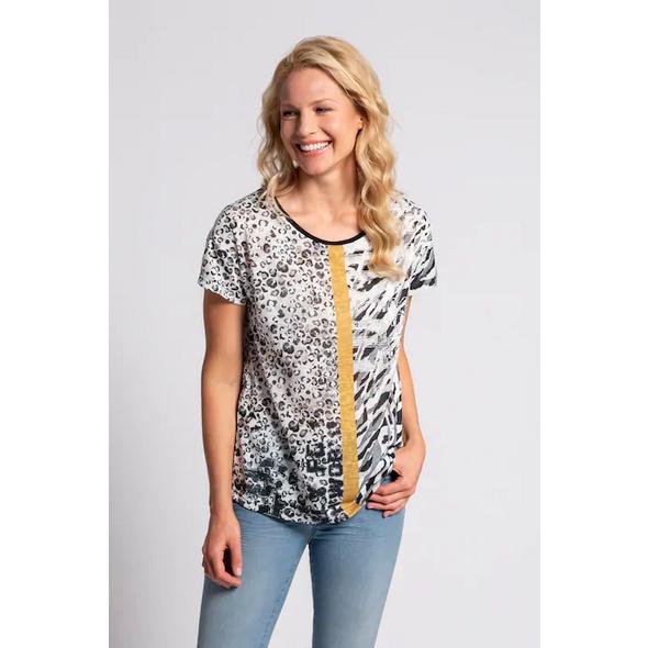 Gina Laura T-Shirt, Animalmuster, Farbstreifen