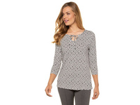 Shirt, geometrisches Muster, Ausschnittband, 3/4-Ärmel