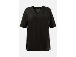 Ulla Popken Basic-T-Shirt, V-Ausschnitt, Relaxed, Baumwolle - Große Größen