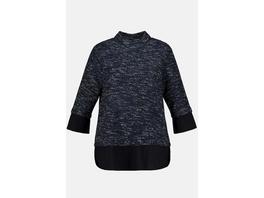 Ulla Popken Sweatshirt, Struktur, A-Linie, Crepe-Saum - Große Größen