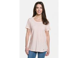 Gina Laura T-Shirt in Used-Look, Rundhals, lockere Passform