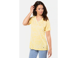 Gina Laura T-Shirt, grafisches Blütenmuster, Ausschnitt-Knöpfe