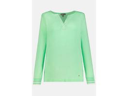 Gina Laura Shirt, breite Streifenbündchen, Tunika-Ausschnitt