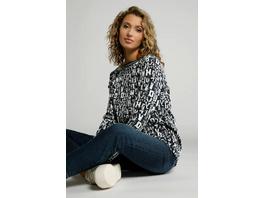 Sweatshirt, Buchstaben-Muster, U-Boot-Ausschnitt