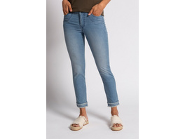 Gina Laura 7/8-Jeans Julia, Fransensaum, Ziersteine, schmales Bein
