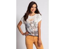 Gina Laura T-Shirt, Blütenmotiv, Flockdruck, Rippbündchen