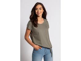 T-Shirt, feine Streifen, Saum-Zierknoten